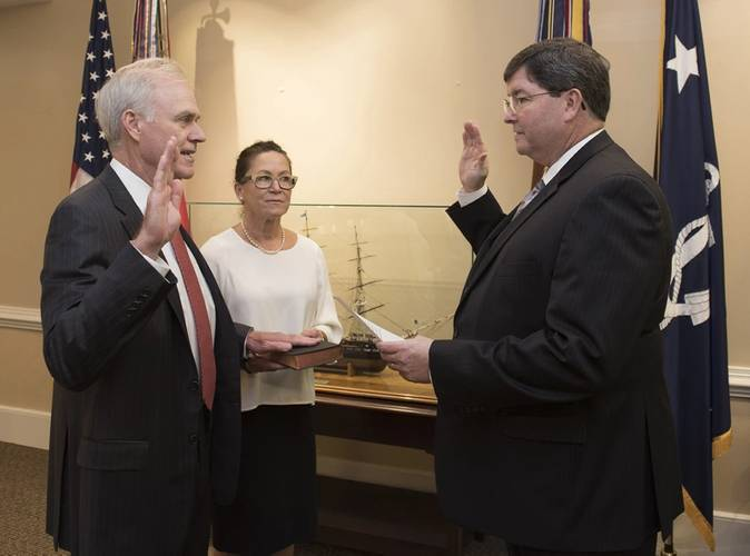 Richard V. Spencer is sworn in as the 76th Secretary of the Navy by William O'Donnell, Department of the Navy administrative assistant. (U.S. Navy photo by Jonathan B. Trejo)