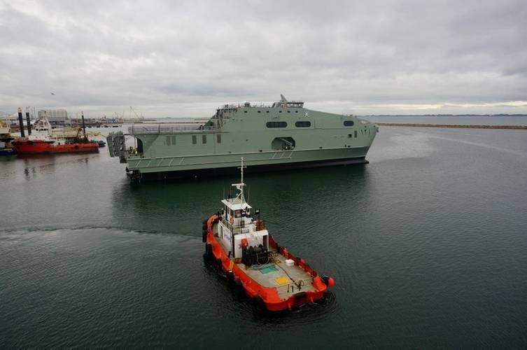 RNOV AL NAASIR (S12) launched at Austal's Henderson Western Australia shipyard in April 2016. (Photo: Austal)