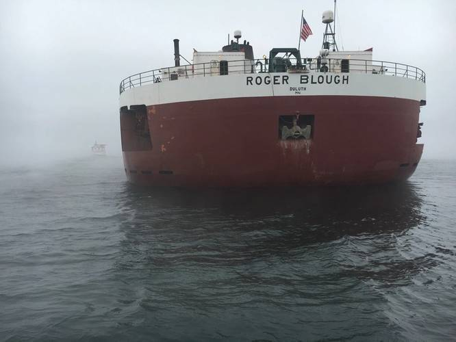 Roger Blough aground in the vicinity of Gros Cap Reef in Whitefish Bay, Lake Superior, May 28, 2016. (U.S. Coast Guard photo by Samantha Coonan)