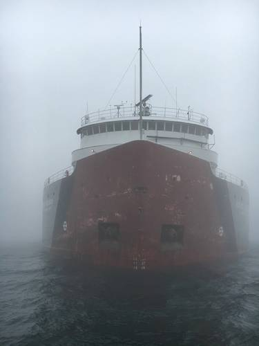 Roger Blough grounded in the vicinity of Gros Cap Reef in Whitefish Bay, Lake Superior (U.S. Coast Guard photo by Samantha Coonan)