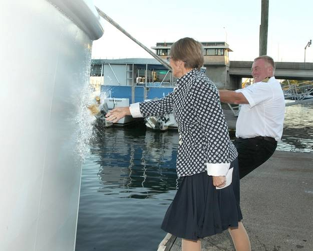 R/V Spirit of the Sound christened by her godmother Astrid Heidenreich on Friday, September 26, 2014. She is assisted by boat build project manager Robert Kunkel, Amtech. (Photo courtesy of the Maritime Aquarium at Norwalk)