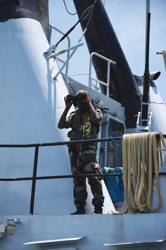 Sailor on watch on Malagasy naval Patrol Ship.