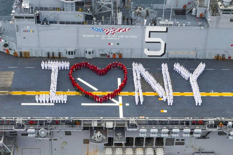 "Sailors onboard USS Bataan (LHD 5) pose for a ""I heart New York"" photograph in preparation for Fleet Week New York. (U.S. Navy photo by Raymond Minami)"