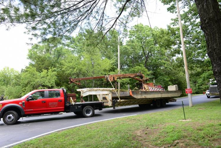 Salvage equipment that will be used to remove Stretch Duck 7 begins to arrive at the staging area at Table Rock Lake near Branson, Missouri, July 22, 2018. The Coast Guard will oversee salvage operations, tentatively scheduled to begin July 23, 2018. (U.S. Coast Guard photo by Lora Ratliff)