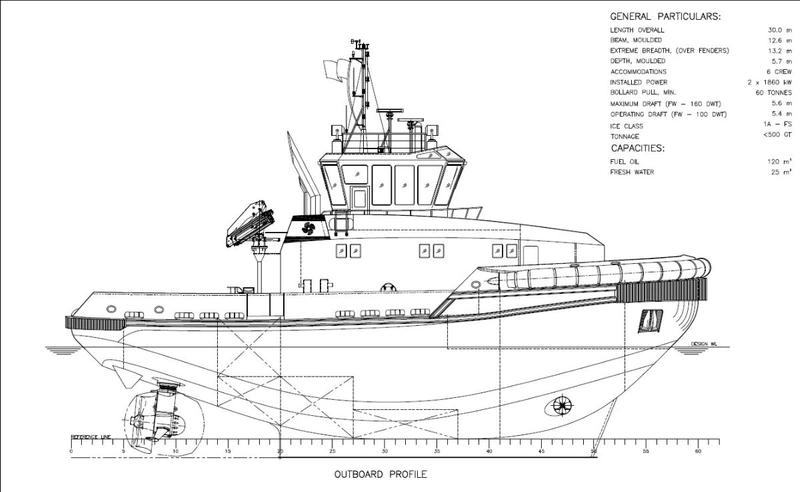 Schematic design of Svitzer's new TundRA 3000 icebreaking tugs (Photo: Svitzer)