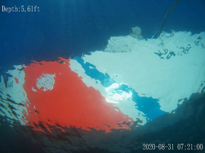 Screen grab from the FiFish Remotely Operated Vehicle (ROV) looking up at the CGC Campbell from below the water line.