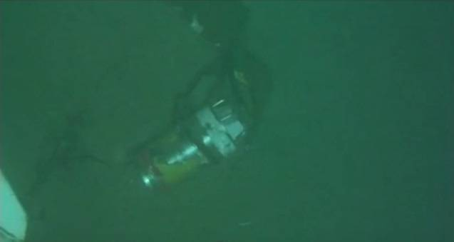 Screenshot from an NTSB video showing El Faro's VDR in 15,000 feet of water