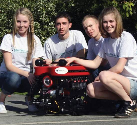 SeaTech 4-H club members proudly display their finished vehicle. Students must design, build and operate their ROV themselves and prove to judges they understand the process through a series of presentations and interviews. Photo courtesy of SeaTech 4-H