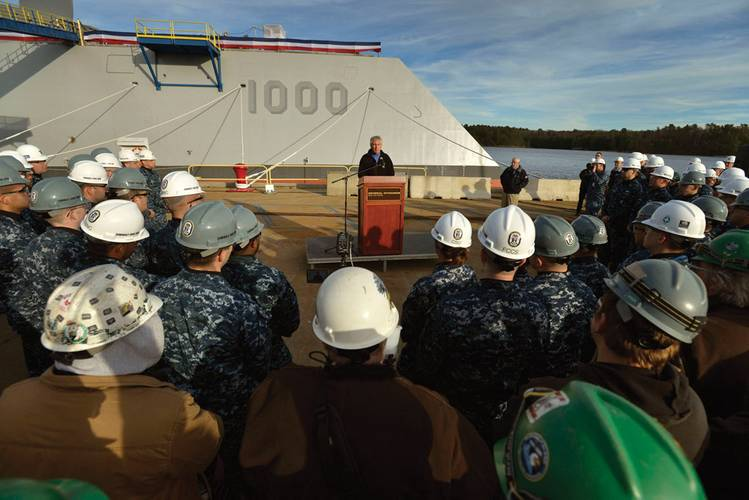 Secretary of Defense Chuck Hagel addresses shipyard workers and sailors as he delivers remarks in front of the guided-missile destroyer Pre-Commissioning Unit (PCS) Zumwalt (DDG-1000) at Bath Iron Works. (U.S. Navy photo by Glenn Fawcett/Released)