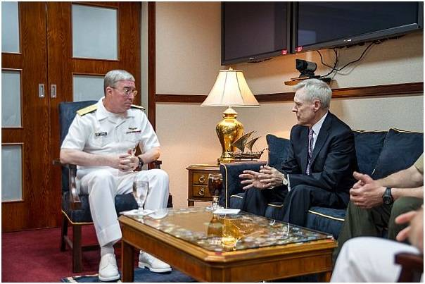 Secretary of the Navy Ray Mabus meets with Vice Adm. John Miller, commander of U.S. Naval Forces Central Command, at Naval Support Activity in Manama, Bahrain. (U.S. Navy photo by Sam Shavers)