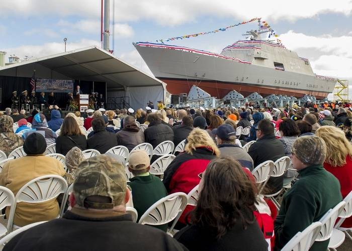 Secretary of the Navy (SECNAV) Ray Mabus delivers remarks during the christening ceremony for the littoral combat ship Pre-Commissioning Unit (PCU) Detroit (LCS 7) at Marinette Marine Corp. shipyard in Marinette, Wis. (U.S. Navy photo by Sam Shavers)