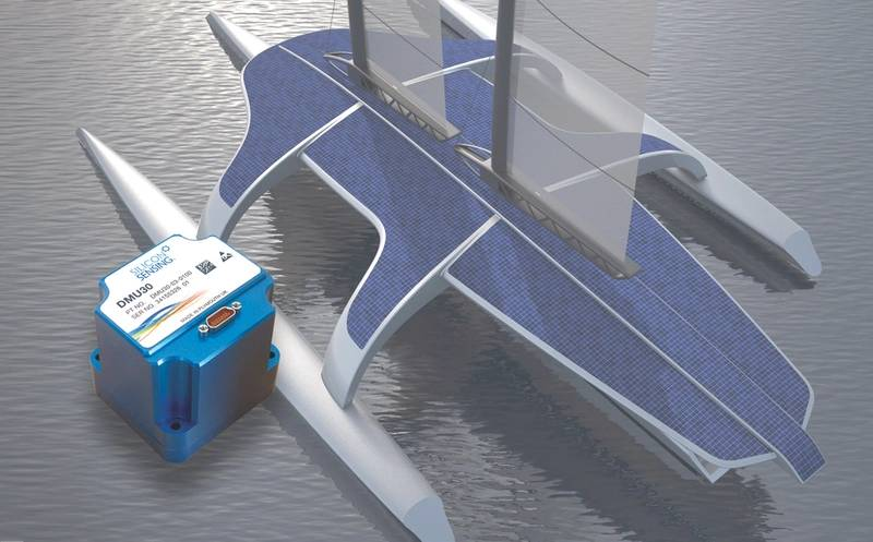 Silicon Sensing DMU30: An artist's impression of the MAS 400 autonomous ship with, inset, the new DMU30 inertial measurement unit which is 68.5 x 61.5 x 65.5 mm. (Photo courtesy Silicon Sensing)