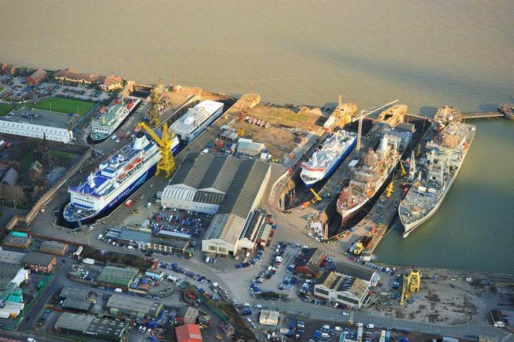 sky shot of Cammell Laird