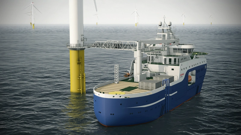 SOV on contract with Ørsted AS (former DONG energy). Image courtesy of Salt Ship Design