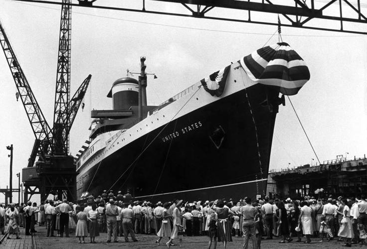 SS United States launching at Newport News Shipbuilding, (now Northrop Grumman Newport News,) June 23, 1951.  (Photo Courtesy of Northrop Grumman Shipbuilding, Newport News , VA )