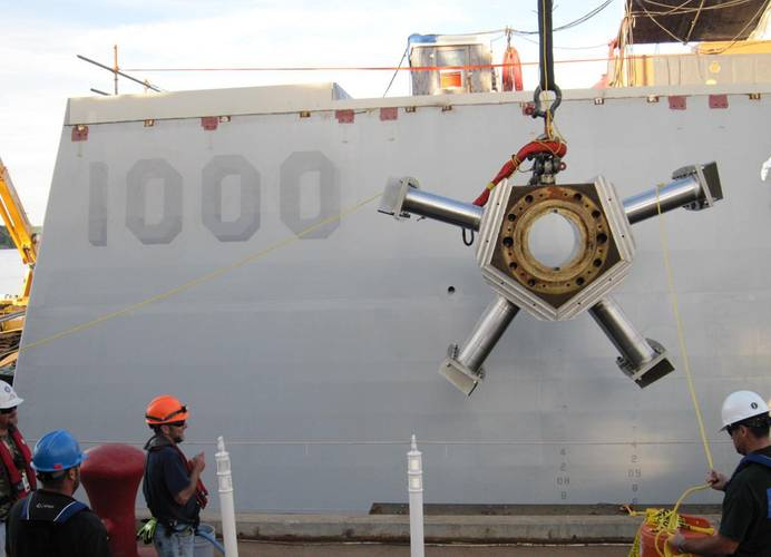 SUPSALV  has multiple responsibilities to keep the U.S. Navy running efficiently, globally. Pictured above is DDG 1000 USS Zumwalt Brake Wheel Removal. (Courtesy of U.S. Navy)