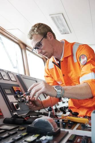 Technician of Radio Holland, part of Imtech Marine providing maintenance on board