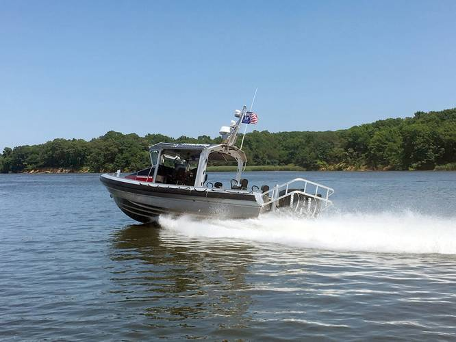 The 10M Fast-Attack Interceptor, capable of speeds up to 60 knots, is the newest addition to the MetalCraft Marine 7-12 meter Interceptor line. (CREDIT: MetalCraft Marine)