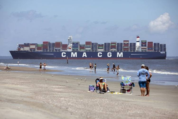 The 14,000 TEU container ship CMA CGM Theodore Roosevelt sails up river past Tybee Island, Ga., Friday, September 1, 2017, to the Port of Savannah in Garden City, Ga. (Photo: GPA Photo/Stephen Morton)
