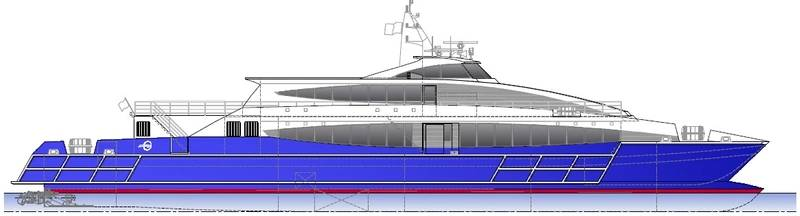 The 50m high speed catamaran to be built by Austal Philippines for Seaspovill. (Design Incat Crowther) Image by Austal Limited