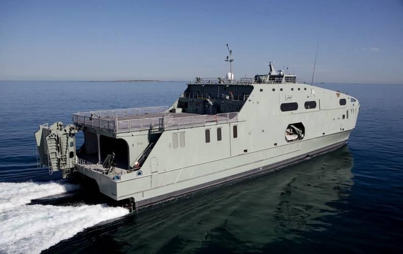 The 72m High Speed Support Vessel (HSSV) RNOV AL MUBSHIR (S11) during sea trials off Western Australia, March 2016. (Photo: Austal)