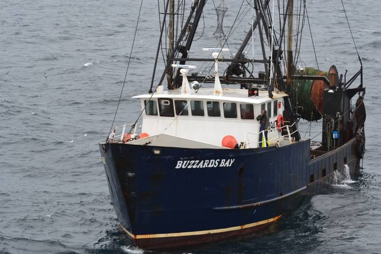 The 86-foot fishing boat Buzzards Bay is pictured prior to being towed by Coast Guard Cutter Harriet Lane, Tuesday, June 21, 2016, 50 miles northeast of Cape Cod. Buzzards Bay became disabled due to a main engine failure. (U.S. Coast Guard photo)