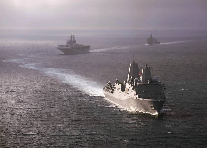 The amphibious transport dock ship USS San Diego (LPD 22) leads the America Amphibious Ready Group, comprised of San Diego, the amphibious assault ship USS America (LHA 6) and the amphibious dock landing ship USS Pearl Harbor (LSD 52) during a simulated straits transit off the coast of Southern California. (U.S. Navy photo by Chad Swysgood)