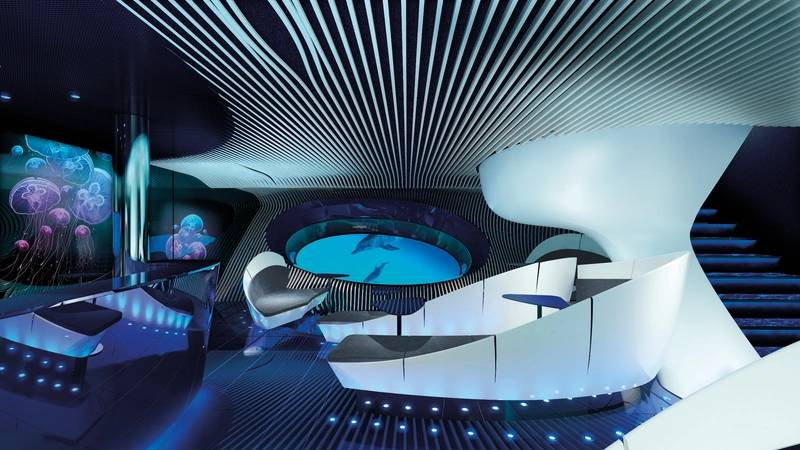 The Blue Eye Lounge.  (c) PONANT - JACQUES ROUGERIE ARCHITECTE
