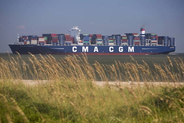 The CMA CGM Theodore Roosevelt enters the mouth of the Savannah River Friday, September 1, 2017. The 14,000-TEU vessel is the largest to ever call on the Port of Savannah. (Photo: Georgia Ports Authority/Stephen B. Morton)