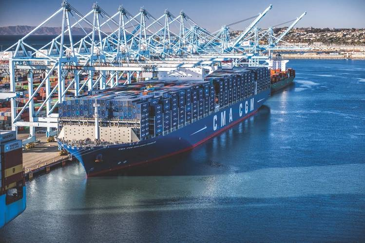 The CMA-CGM Ben Franklin, an 18,000 TEU containership, was, in 2015, the largest vessel to call on a U.S. port. (Photo: MARAD)