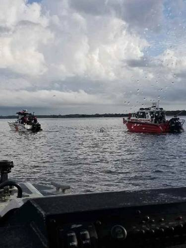 The Coast Guard boatcrew transferred the three people to Blount Island and the Jacksonville Fire and Rescue Department towed their vessel to Arlington Road Boat Ramp. (U.S. Coast Guard photo courtesy of Coast Guard Station