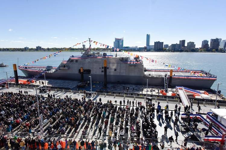 The commissioning ceremony for the U.S. Navy's new Freedom-variant littoral combat ship USS Detroit (LCS 7) was held October 22 in the vessel's namesake city (U.S. Navy photo courtesy of Lockheed Martin)
