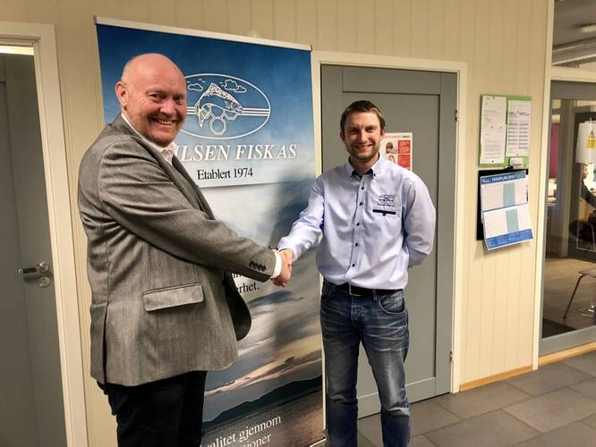 The contract was signed at Emilsen Fisk AS's office in Lauvøya, Rørvik, Norway by company owner Roy Emilsen and Director of ProZero Norge AS, Kjetil Nygaard, together with Jonas Pedersen from Tuco Marine in Denmark. (Photo: Tuco Marine)