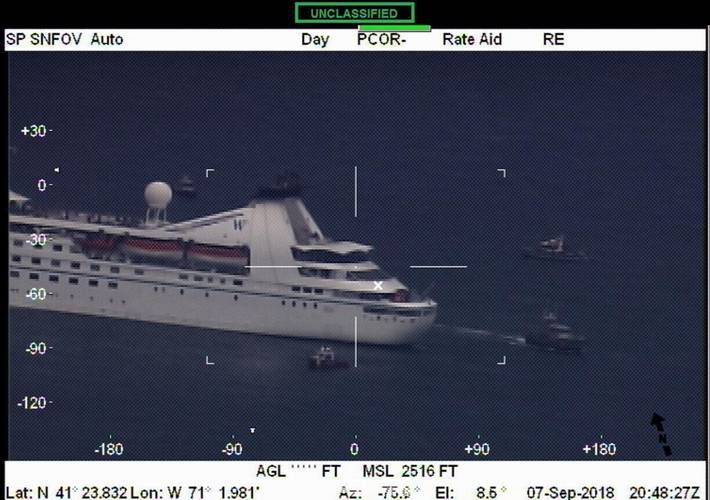The cruise ship Star Pride after it lost power in Buzzards Bay, Mass. on Friday, September 7, 2018. (U.S. Coast Guard photo)