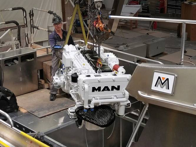 The D2676 LE433 MAN engine for the Mavrik LT32 is the latest generation of in-line six-cylinder engines and the first one to roll off the production line. (Photo: MAN Engines)
