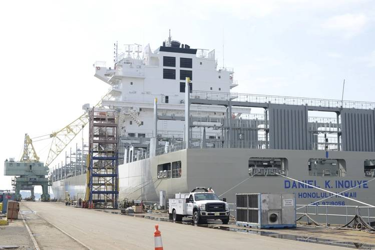 The Daniel K. Inouye, an 850-foot containership being constructed in Philadelphia Shipyards, is the largest container vessel constructed in the U.S., and is one of many ships marine inspectors from Coast Guard Sector Delaware Bay work with to ensure maritime safety and security. (Coast Guard photo by Seth Johnson)