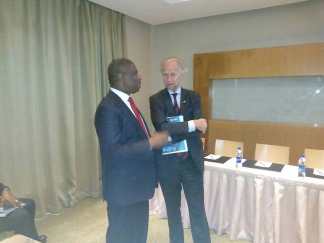 The Director General of the Nigerian Maritime Administration and Safety Agency (NIMASA) Dr. Dakuku Peterside in a chat with the Norwegian Ambassador to Nigeria Jens-Petter Kjemprud at the Regional Conference on Marine Safety and Fisheries Protection, in Lagos. (Photo: NIMASA)