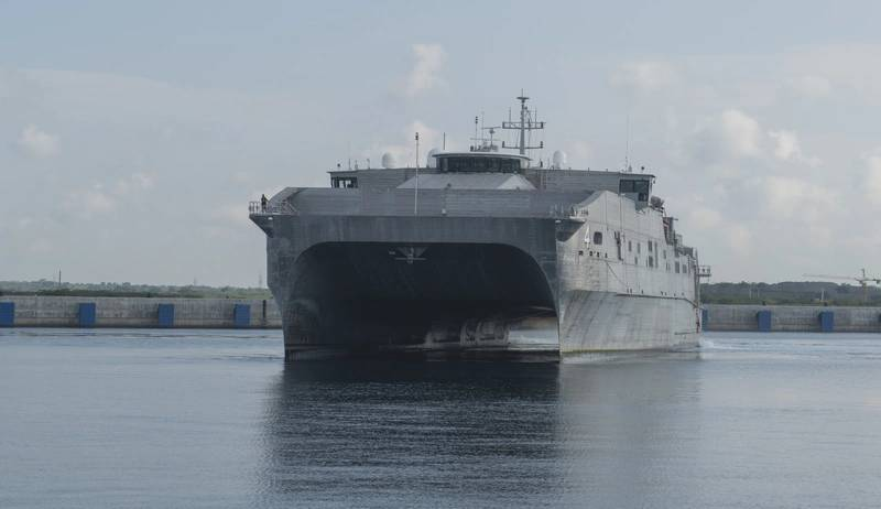 The expeditionary fast transport ship USNS Fall River (T-EPF-4) arrives in Hambantota to participate in Pacific Partnership 2017 mission stop Sri Lanka. (U.S. Navy photo by Joshua Fulton)