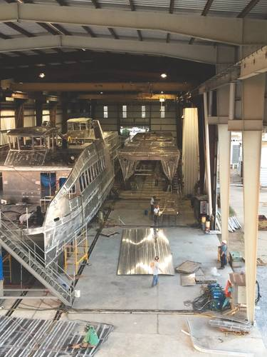 The ferries taking shape in the produciton hall at Horizon Shipbuilding. (Photo: Horizon Shipbuilding)