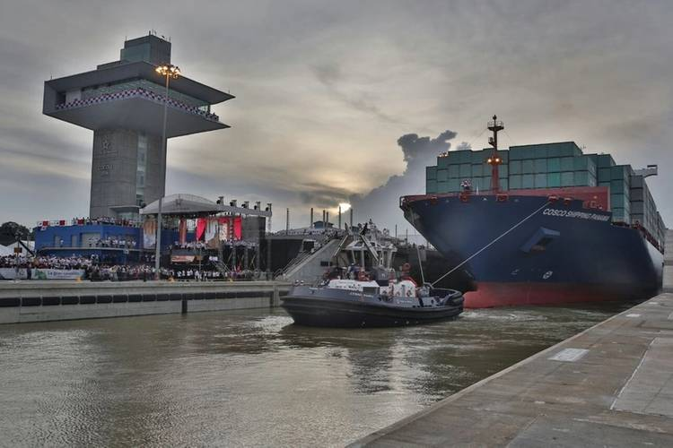The first commercial transit of a Neopanamax vessel through the Expanded Panama Canal (Photo: ACP)