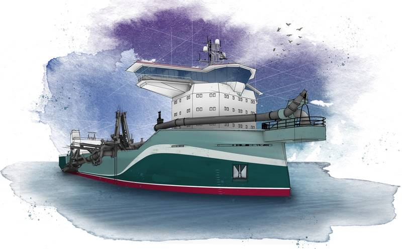 The first concept design released from the C-Job TSHD series is a 14,000 cu.-m. multifunctional dredger. The dredger is optimized for shallow water performance and features two (extendable) suction pipes, self-unloading systems, and eco-friendly features. (Photo courtesy C-Job Naval Architects)
