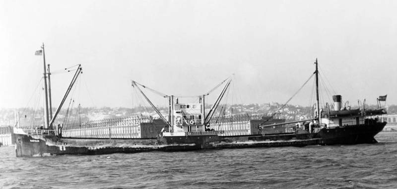 The freighter SS Bluefields was sunk by the German submarine U-576 in July 1942. The wrecks of the two ships were discovered in 2014 off Cape Hattaras, North Carolina, only 240 yards apart. (Credit: Mariners' Museum)