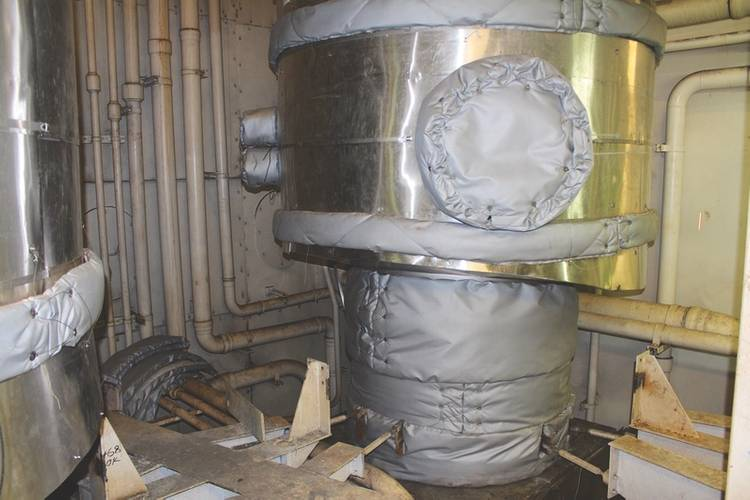 The fully insulated and cladded scrubber section in position on board ship. (Photo: Goltens)