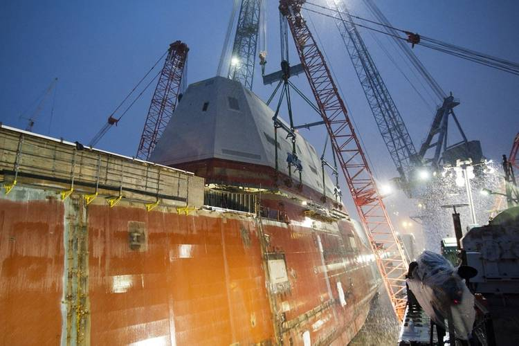 The future guided-missile destroyer USS Michael Monsoor (DDG 1001) completed the successful lift and integration of the deckhouse on to the ship's hull at General Dynamics Bath Iron Works shipyard in November 2014. (U.S. Navy photo courtesy of Bath Iron Works)