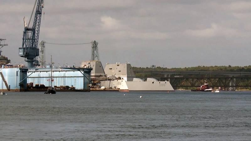 The future USS Zumwalt (DDG 1000) passing the future USS Michael Monsoor (DDG 1001) as Zumwalt departs Bath Iron Works (U.S. Navy photo)