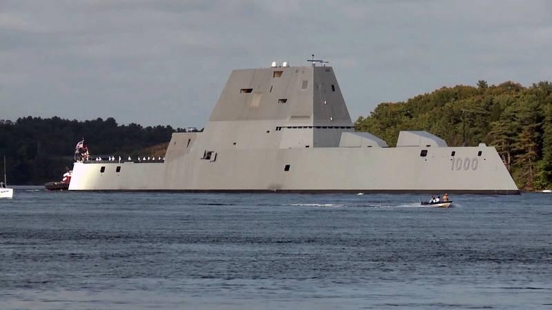 The future USS Zumwalt (DDG 1000) departing Bath Iron Works (U.S. Navy photo)