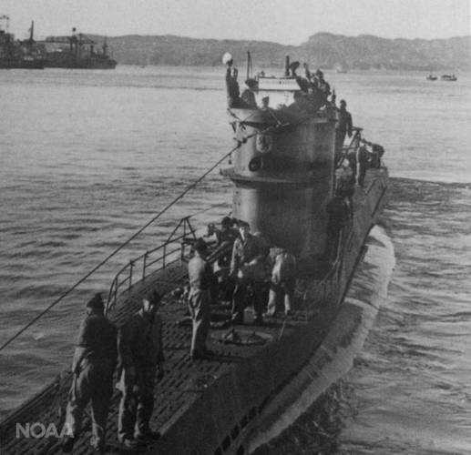 The German World War II submarine U-576. (Credit: NOAA/Ed Caram)