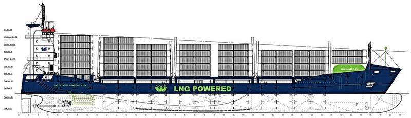 The graph of the Wes Amelie shows the LNG-tank location on the forecastle. (Image: Wessels GmbH)