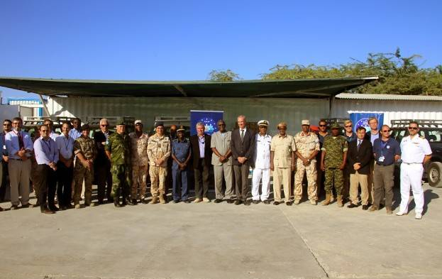 The handover of the vehicles and equipment to the Somali Coast Guard took place during a ceremony at EUCAP Nestor's compound in Mogadishu (Photo: EU)