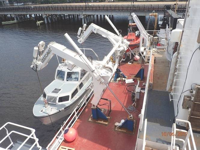 The HN-9000 davit from Vestdavit: a hydraulically-operated dual-point davit with a 9,000 kg SWL. (Photo courtesy of Vestdavit)